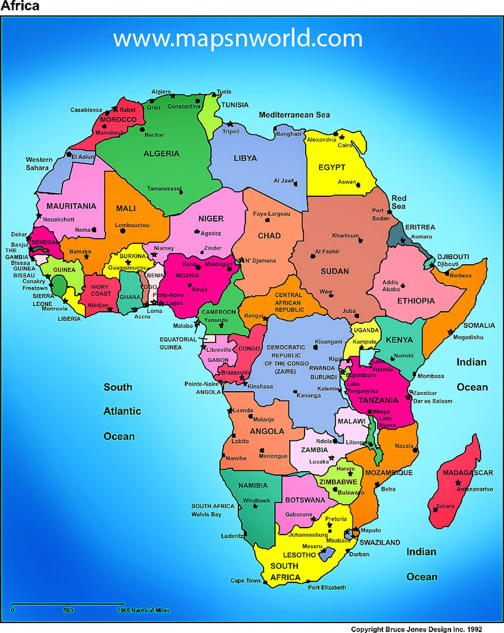 map of africa bodies of water Africa Map And Other Free Printable International Maps map of africa bodies of water