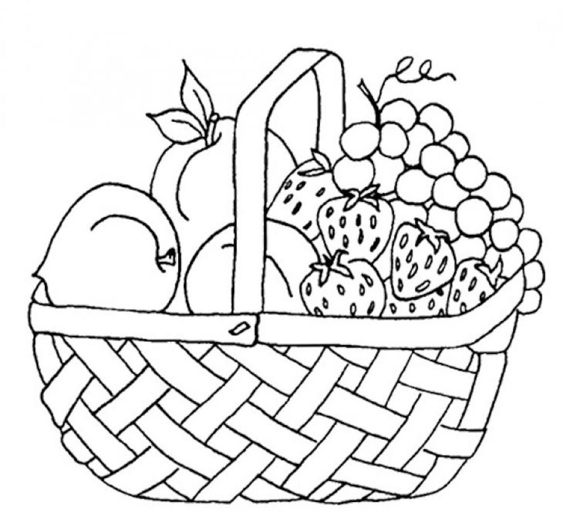 Basket Clipart Coloring Pages And