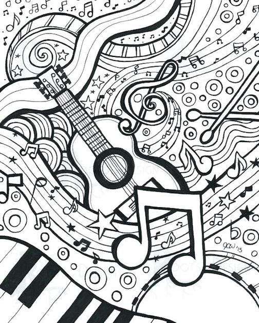 Music Coloring Pages For Adults - Free And Printable