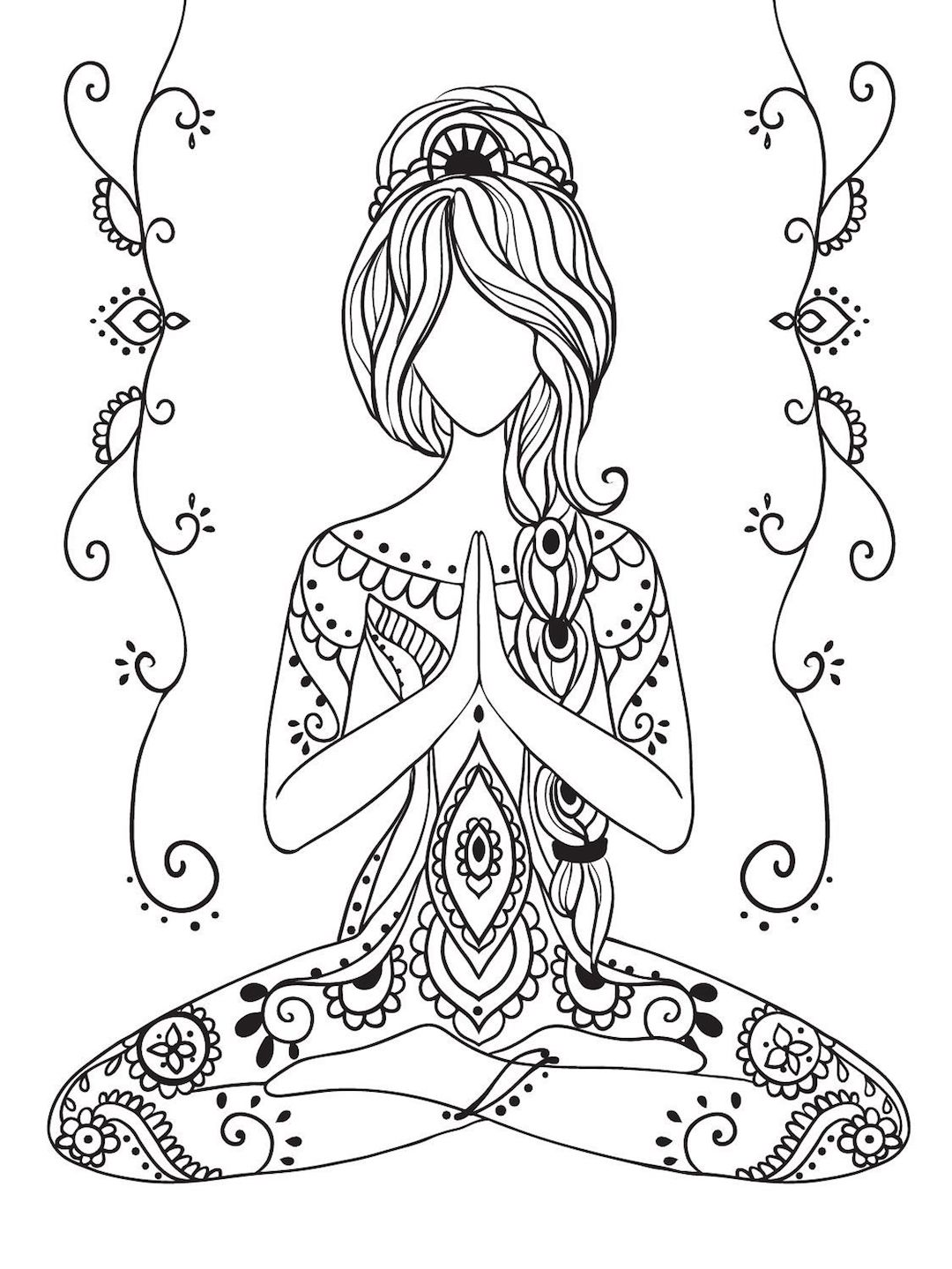 Floor Exercise Coloring Page | 1439x1080