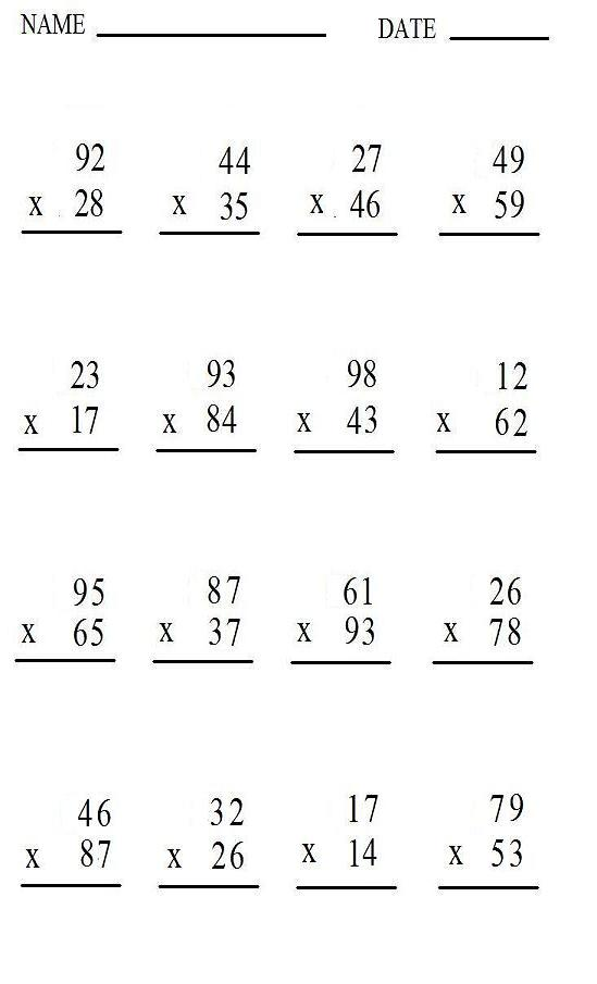 Free Math Worksheets – Double Digit Multiplication Worksheets Grade 4