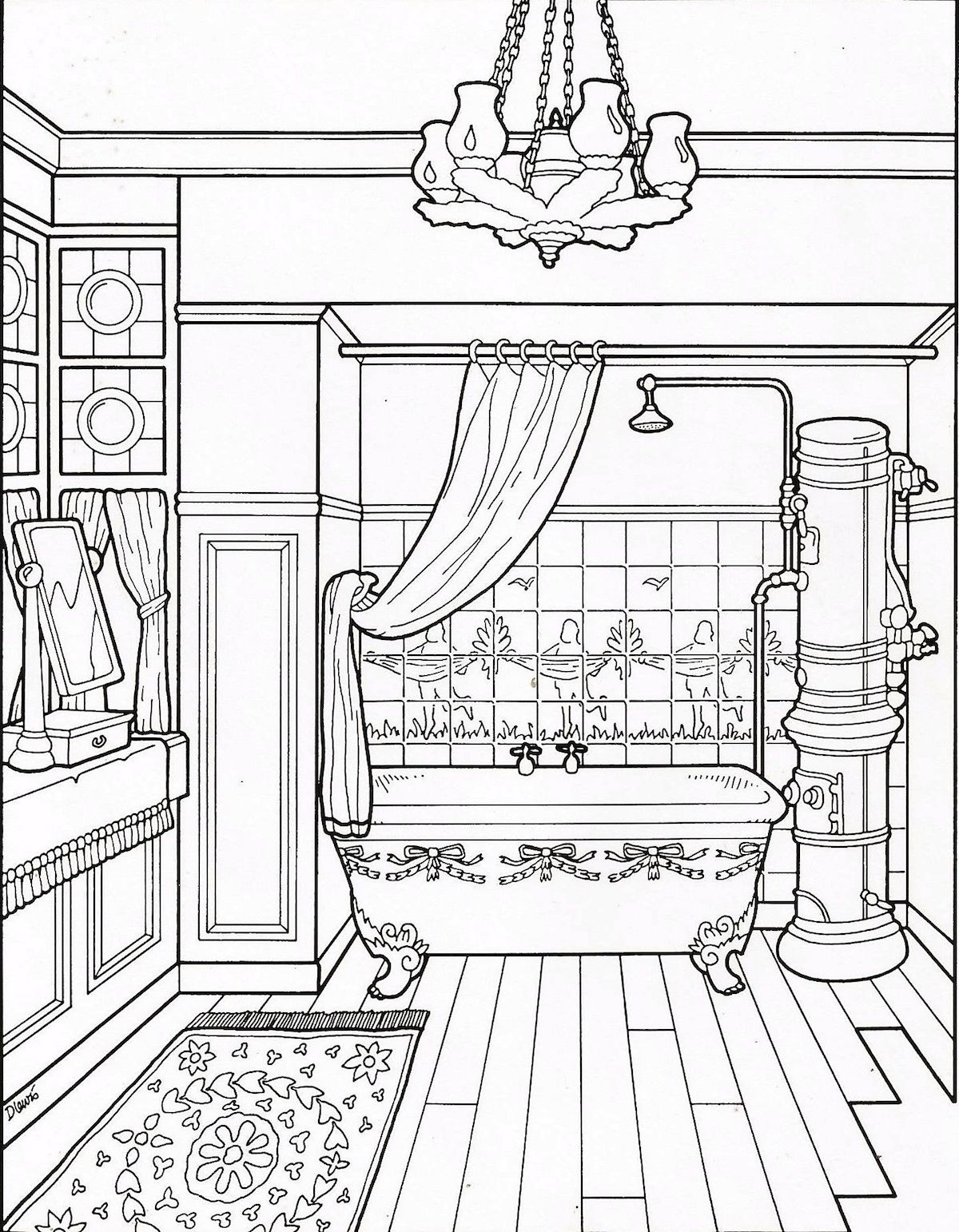 Interiors And Furniture Design Coloring Pages For Advanced Colorers