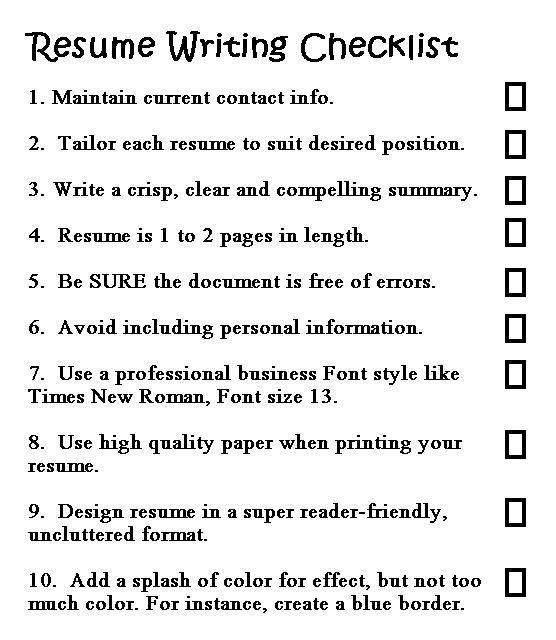 Useful Links To More Free Printable Items  What Should A Good Resume Look Like