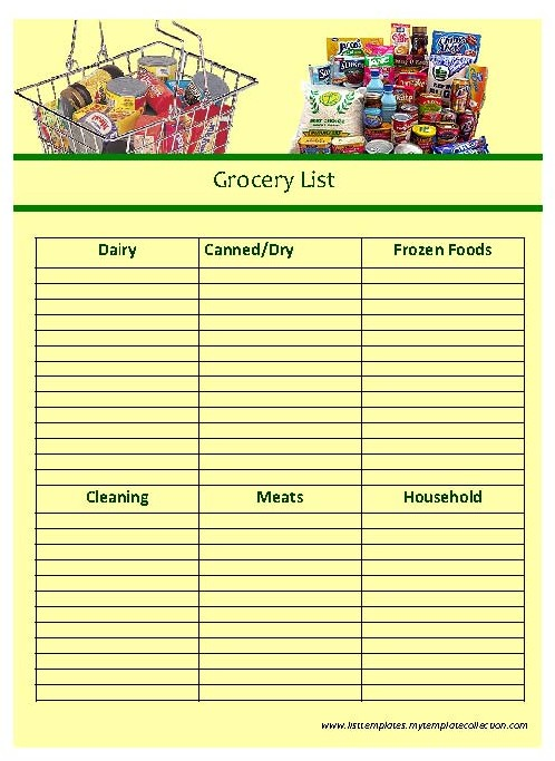 Doc545721 Grocery List Form grocery list form 62 More Docs – Grocery List Form