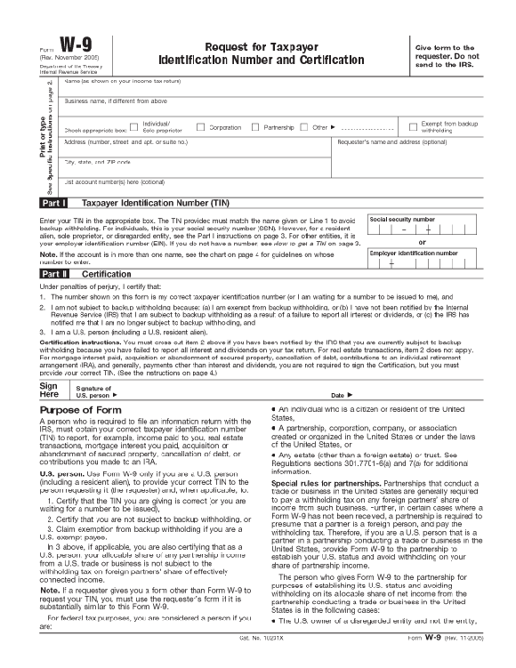 Income Tax Form W9 and Others
