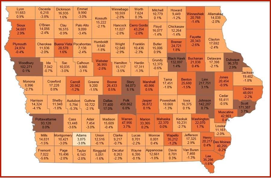 Map Of Iowa Counties Free And Printable