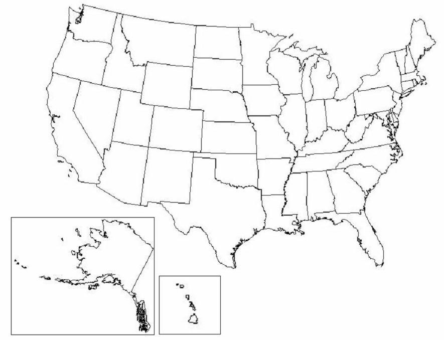 Map Of United States - Us map blank quiz