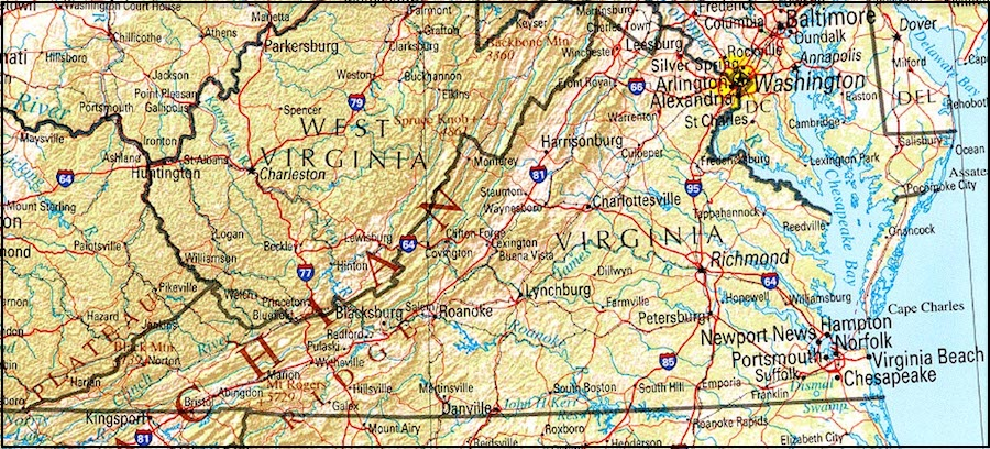 photo about Printable Map of Virginia named Map Of Virginia And Other Free of charge Printable Maps