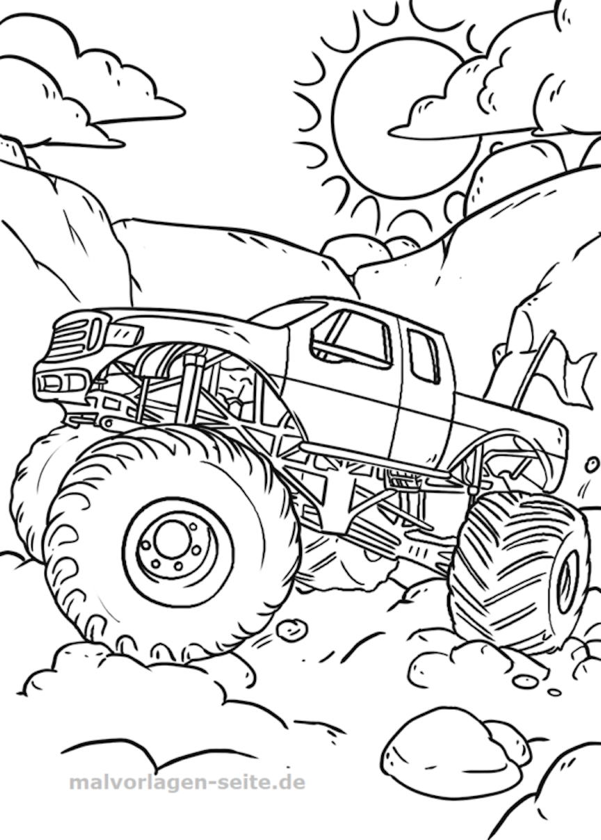 Monster Truck Coloring Pages And Other Themed Coloring Challenges