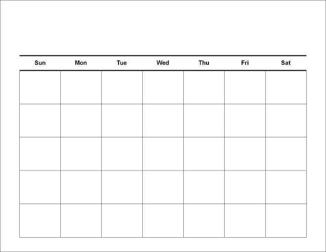 Reusable Monthly Calendar : Printable blank calendars