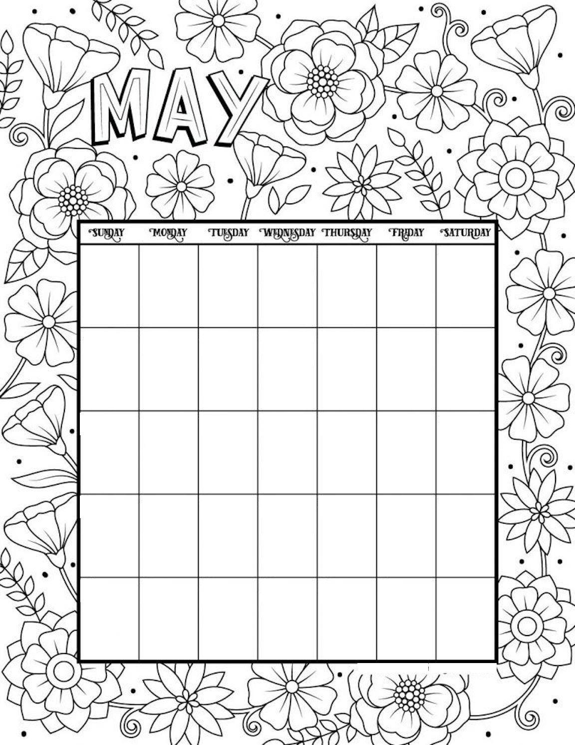 Free Printable Calendar Coloring Pages - Every Month, ANY Year
