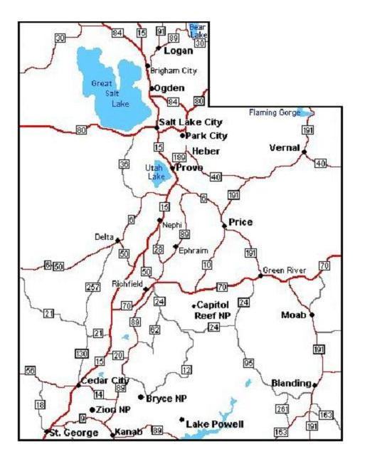 Geeky image within printable map of utah